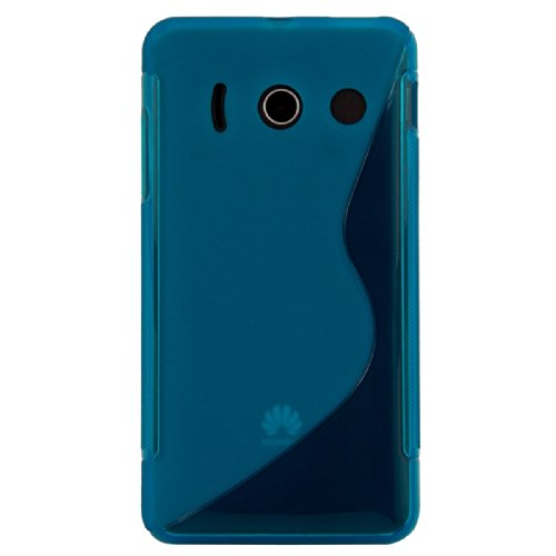 kwmobile Huawei Ascend Y300 Hülle - Handyhülle für Huawei Ascend Y300 - Handy Case in S-Line Design Blau Transparent - 3