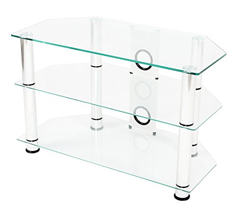 Mountright UMS3C Glass TV Stand Unit For Up To 37 inch (Clear Glass)