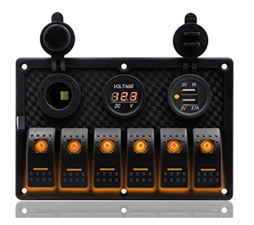 POLKMN Impermeable 6 pandillas Panel de Interruptor de Rocker LED 3.1A Dual USB Slot Socket 12V Pantalla de Voltaje Digital Pantalla de Coche Circuito Marino