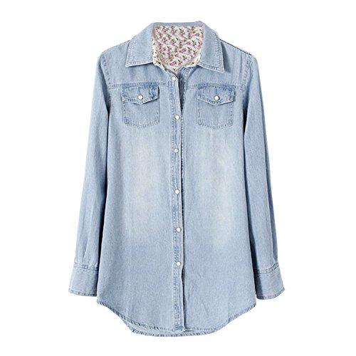 CHIC-Chemisier Bleu Femme Longues Manches Casual Jeans Denim Bouton Vintage (FR46, Light)