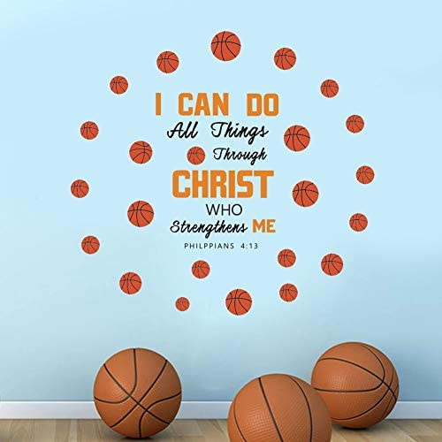 IARTTOP Creative Basketball Wall Decals Inspirational Quote I Can Do Sticker for Kids Bedroom product image