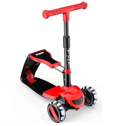 Scooter Puede Sentarse y Montar Scooter para niños DiDler patear Scooter con Altura Plegable, Ajustable, iluminación de 3 Ruedas de Balance de Scooters de Ejercicio Patinetes (Color : Red)