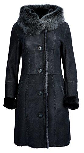 DX-Exclusive wear Damen LAmmfellmantel, Schaffellmantel, Ledermantel Toscana Fell KPKD-0021 (46, Graphit)