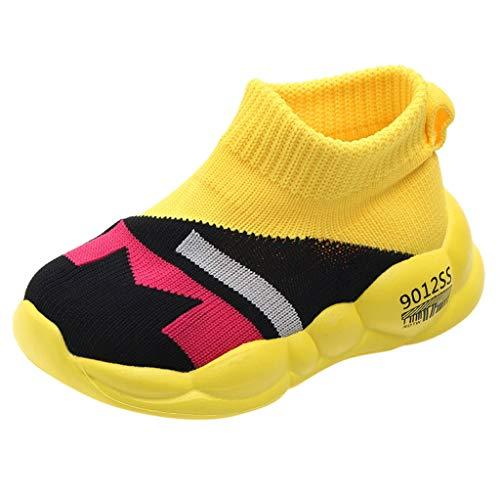 Baby Mädchen Jungen Sportschuhe Kleinkind Kinder Socken Schuhe Mesh Sneaker Soft Sole Turnschuhe Gestrickte Atmungsaktive Freizeitschuhe, Gelb, 25 EU