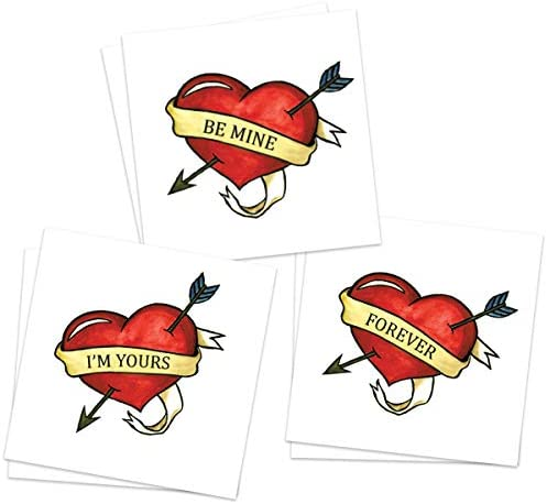 Love Heart Temporary Tattoos Pack of 6 Valentine s Classic Style Be Mine I m Yours Forever Skin product image