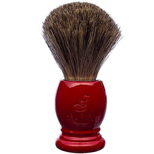 La Maison du Barbier Blaireau Rouge Ferrari - Poils Pur Gris Taille 12-100% Fabriqué en France