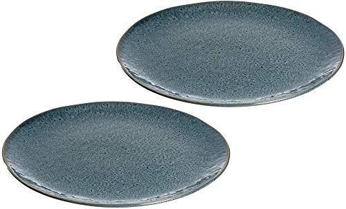 Platos de cerámica, juego de 2,platos llanos aptos para lavavajillas, platosllanos con esmalte2 loza redonda