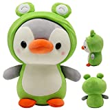 10in Cute Penguin Plush Frog Stuffed Animal, Cartoon Penguin Frog Plushie Pillow Soft Doll Toys Gifts for Halloween Christmas Birthday