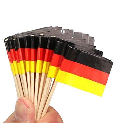 ABOOFAN 100 x Mini-Cupcake-Topper mit Deutschland-Flagge, aus Holz, Zahnstocher, Wüste, Obst, Cocktailspieße, für Welt- & Sportpartys