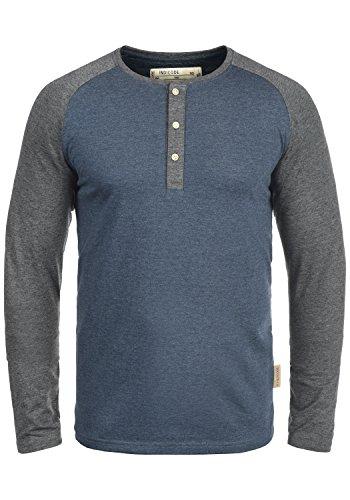 Indicode Winston Herren Longsleeve Langarmshirt Shirt Mit Grandad-Ausschnitt, Größe:L, Farbe:Navy Mix (420)