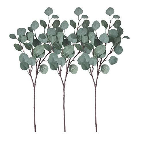 ZHIIHASO Artificial Eucalyptus Garland Long Silver Dollar Leaves Foliage Plants Greenery Fake Plastic Branches Greens Bushes (3pcs)