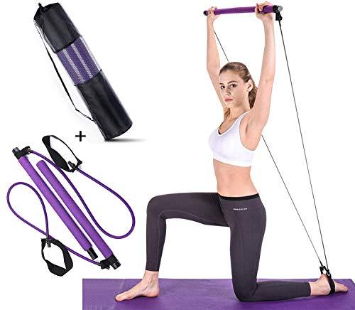 【2020 NOVITÀ】 Kit barra per pilates con fasce di resistenza e borsa per il trasporto, fitness portatile portatile Pilates Stick, allenamento total body, per yoga, fitness, perdita di peso, stretching