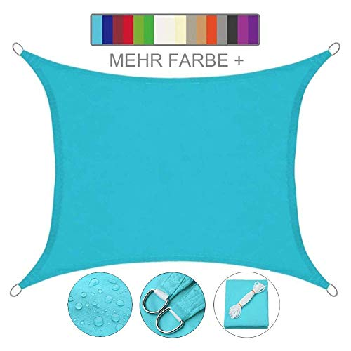 NOLOGO Toldo Vela de Sombra Rectangular 2.5x3.5m Protección UV 95% Toldo Vela IKEA 304 Acero Inoxidable Kit de Montaje para Exteriores Patio Jardín Protección UV, Azul