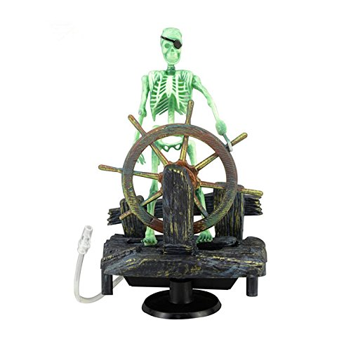 TIAN-K Skeleton Pirate Captain Aquarium Resin Decorations - Air Bubbler Ornaments for Fish Tank