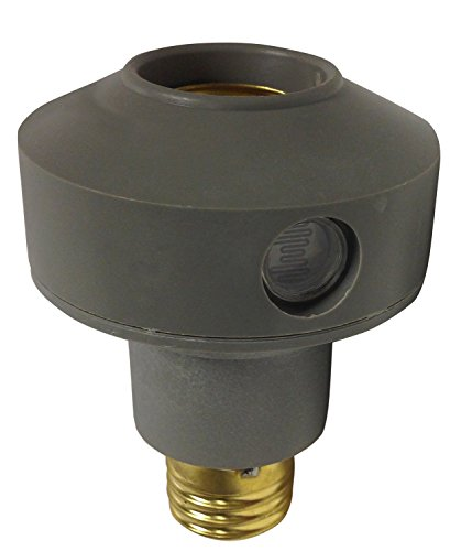 Woods 1472WD Outdoor Floodlight Control Socket with Light Sensor Photocell, Grey