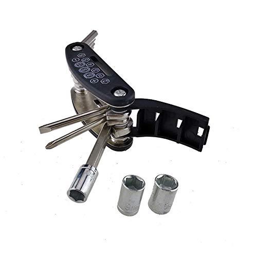16 en 1 Kit de herramientas de reparación multifunción Kit HEX Llave Tuerca Neumático Neumático Reparación de bicicletas Hex Allen Tecla Destornillador Destornillador Barra de extensión