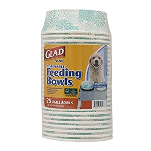 Glad for Pets Disposable Feeding Bowls | Small Dog Bowls in Teal Pattern | 1.75 Cup Feeding Size, 25 Count – Dog Bowls are Great for Dry and Wet Dog Food or Water
