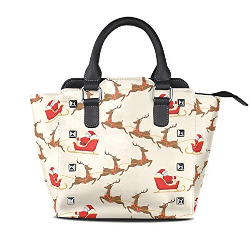 MONTOJ Reindeer Sled Santa Claus handbags and purses Shoulder Bag