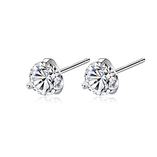 Stud Earrings Simple Three Claws Size 3mm/ 4mm/ 5mm/ 6mm 925 Sterling Silver Women Earrings Jewelry Daily Wear