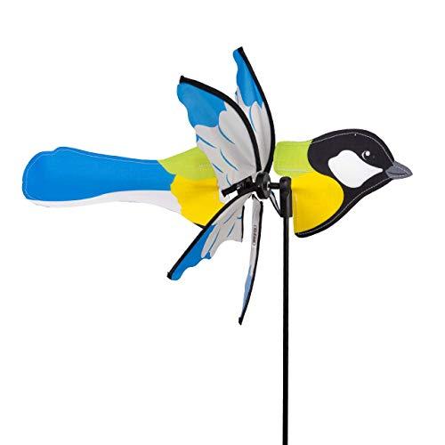 CIM Windspiel - Petite 2in1 KOHLMEISE - Windrad Ø28x43x85cm - Windmühle mit Standstab oder Mobile mit Hängeset