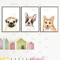 保育園の子犬の犬のキャンバスの絵画花の王冠の犬のポスターとプリントパグコーギーボストンテリア壁アート写真家の装飾40x60cmフレームなし