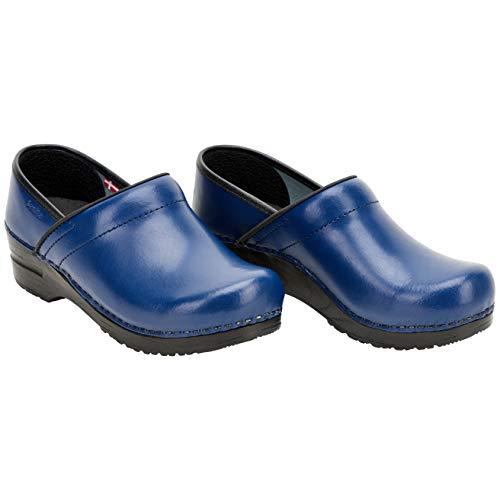 Sanita | Izabella geschlossener Clog | Original handgemacht für Damen | Anatomisch geformtes Fußbett mit weichem Schaum | Blau | 37 EU