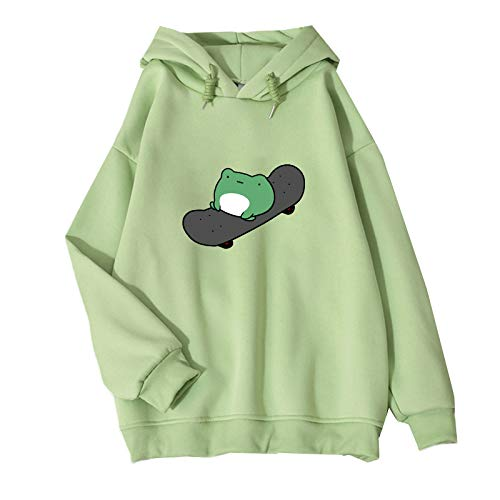 Women's Cute Sweatshirts Frog Skateboard Long Sleeve Casual Hoodie Pullover Tops (Green,Asian L)