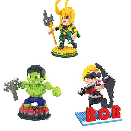 JIALI Mini Blocks Cartoon Hero Series Modell Nano Ziegel Micro Blöcke Set Stress Reliever 3D Puzzle DIY Spielzeug für Kinder Erwachsene (3 Stück)