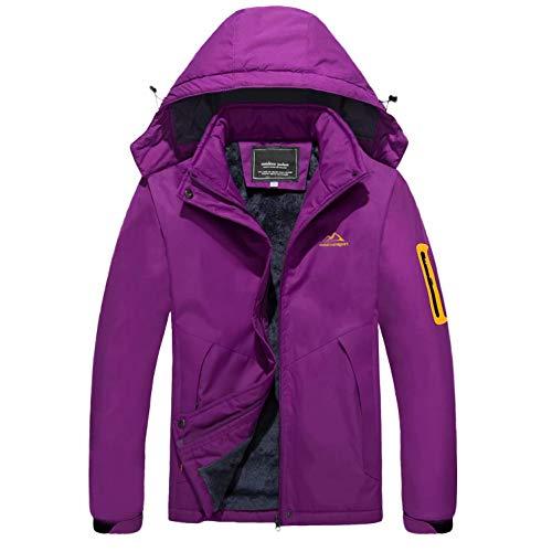 MAGCOMSEN Womens Winter Coats Winter Jackets for Women Hooded Snow Jacket Waterproof Jacket Snowboarding Jacket Fleece Ski Jacket Women Purple