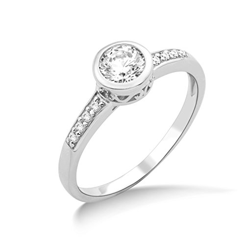 Miore Ladies 925 Sterling Silver Swarovski Elements Engagement Ring - Size L 1/2