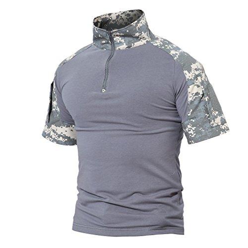 MAGCOMSEN Herren Tactical Shirt Kurzarm Sportlich Sweatshirt Slim Fit Atmungsaktiv Trainingshirt Sommer 1/4 Zip Military Armee Hemd Airsoft Shirt ACU S (Etikett: L)