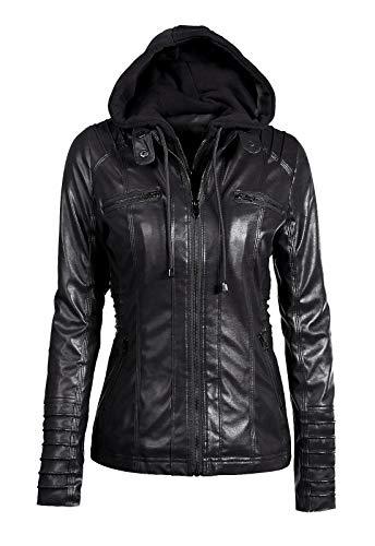 Sanyouletoo Damen Kapuzen Kunstleder Jacke Entfernbare Faux Leder Jacke Motorradjacke mit Reißverschluss Ladies Oberbekleidung (Normale EU-Größe)