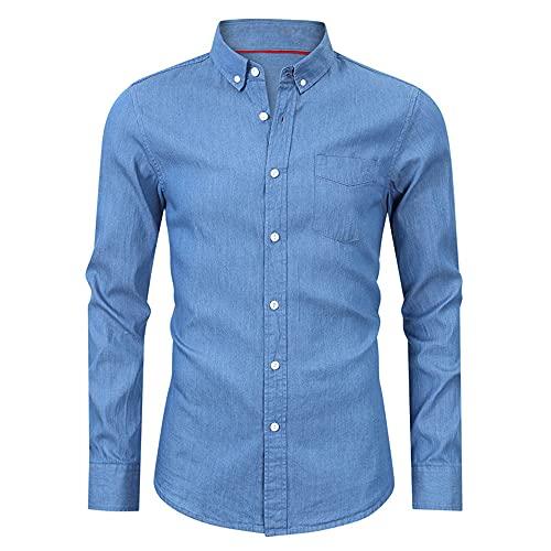 KXZD Men's Denim Shirt Unique Denim Washed Shirt Men Casual Long Sleeve Blouse Tops Long Sleeve Dress Shirt Denim Jean Shirt Long Sleeve Western Casual Shirts Classic Long Sleeve Business Shirts