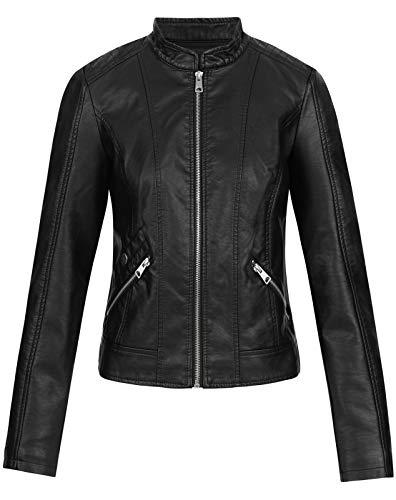 Vero Moda Vmkhloe Favo Faux Leather Jacket Noos Chaqueta, Negro (Black), 36 (Talla del Fabricante: X-Small) para Mujer