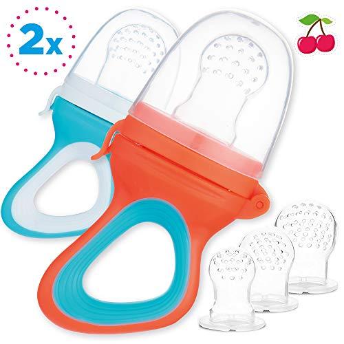 2pcs Tétines d'Alimentation pour Bébé et Tout-Petit + 6 Tétines en Silicone Medical en 3 Tailles - sans BPA - Anneau Dentition Fruit Grignoteuse Appétissantes