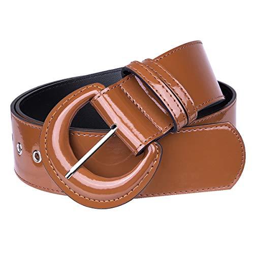 KYEYGWO Cinturón de piel sintética para mujer con anillas en D, hebilla ajustable, cinturón ancho clásico para vestidos, camisas, cortavientos. marrón Talla única