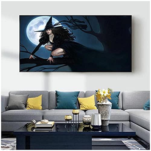 artaslf Pintura de animación bruja arte lienzo pintura sala de estar pasillo oficina decoración del hogar mural- 50x90cm sin marco