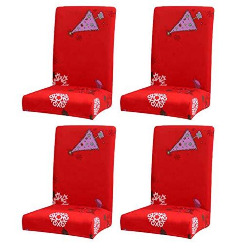 WanYangg Universal Stretch Weihnachten Hirsch Drucken Stuhlhussen Weihnachts Deko Vintage Stuhlhussen mit Muster Stühle Set Bezüge für Stühle Jacquard Party Rot/Schneeflocke 4 PCS