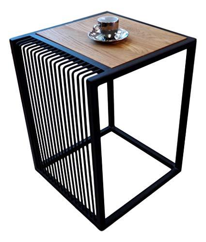 Lumarc Ivrea - Mesa de café y salón bajo, de madera maciza de roble natural, diseño moderno industrial minimalista, cuadrada, 40 x 40 x 53 cm