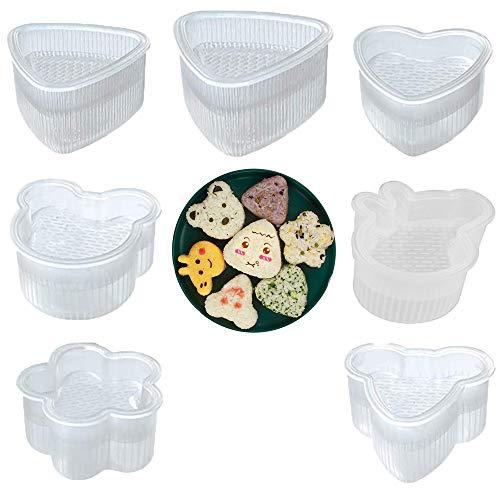 afdg Reisbällchen Form, 7 Stücke Onigiri Maker, Sushi Form, Reisbällchenform aus Kunststoff, Einfach zu Entformen für Küche, Esszimmer, Party Dessert, Rice Ball DIY.