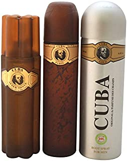 Cuba Gold by Cuba for Men - 3 Pc Gift Set 3.3oz EDT Spray, 6.6oz Deodorant Body Spray, 3.3oz After Shave