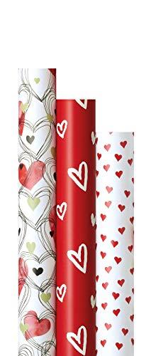 """Geschenkpapier\""""Liebe\"""" 3 Rollen im Set - je 2m x 70cm in hochwertiger Papierqualität LWC 80g/m² für liebevolle Geschenke an Frauen Männer zum Valentinstag, Muttertag, Hochzeit, Jahrestag"""