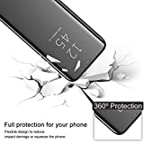 TOPOFU Case for Huawei P Smart 2021 Case, Smart Ultra Slim Flip Case, Plating Mirror Clear View standing Case, Translucent 360° Protective Case for Huawei P Smart 2021 - Silver