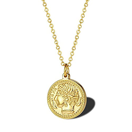 Minimalismo de acero inoxidable Dorado CHRI CRIST RELIGIOSO DISCO DE MONEDA DE JESÚS CABEZA PENDIENTE Collar de la joyería de moda para él-Oro