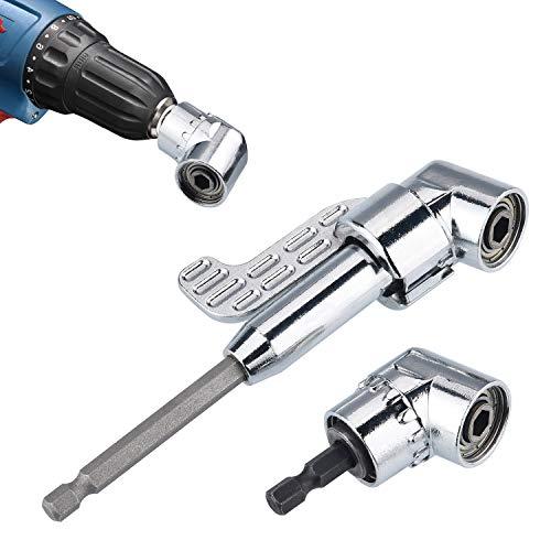 JIZZU 2 Stück 105 ° 1/4 Winkelschrauber Vorsatz Adapter 105° mit Sechskantschraubendreher, lang/kurz Winkelschraubervorsatz für Bohrmaschinenwerkzeug, Schraubendreher mit magnetischem Bohrerhalter