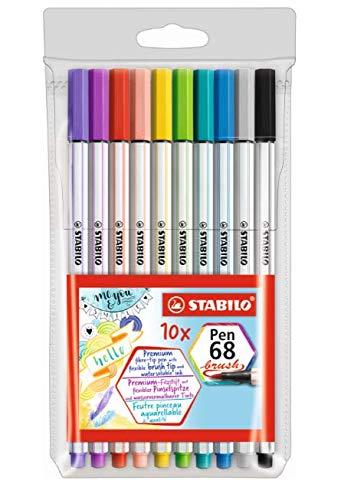 Caneta Stabilo Pen 68 Brush, Multicor, Estojo com 10 unidades