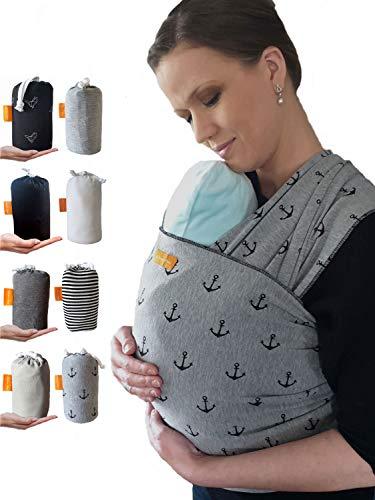 Kleiner Held® Babytragetuch hochwertiges elastisches Baby Tragetuch Babytrage für Früh- und Neugeborene Babys ab Geburt bis 15 kg inkl. Wickelanleitung und Aufbewahrungstasche - Farbe grau Anker