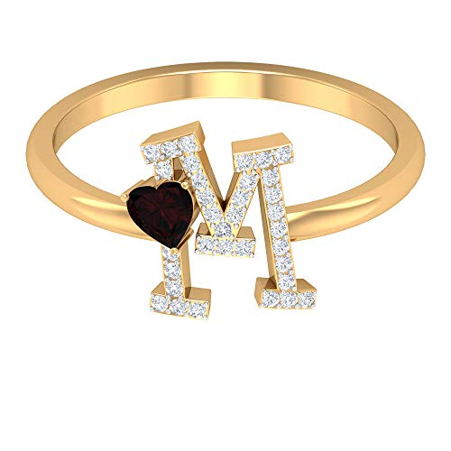 1/4 CT Diamond M Initial Ring with Heart Cut Garnet (Best Quality), 14K Yellow Gold, Size:UK P1/2
