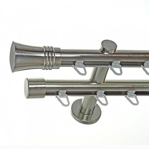 BASIT Innenlauf Gardinenstange Edelstahl Look 20mm Wandträger 2-läufig Zylinder Knauf, Länge wählbar H40 E86E30, Länge:240 cm