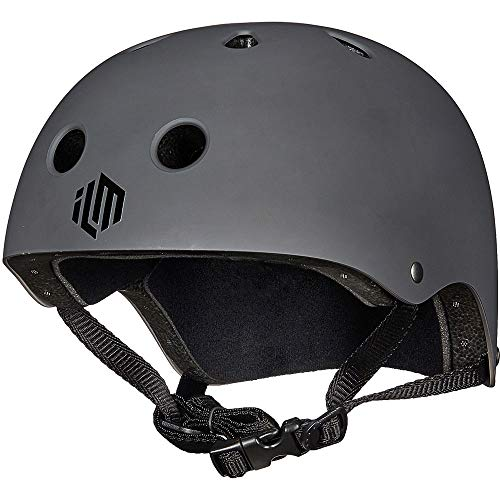 ILM Skateboard Helmet CPSC Certified Impact Resistance Ventilation for Cycling Skateboarding Scooter Outdoor Sports (Gray, S/M)